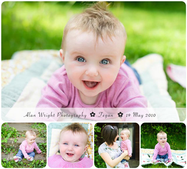 adorable baby poses for photos in local park