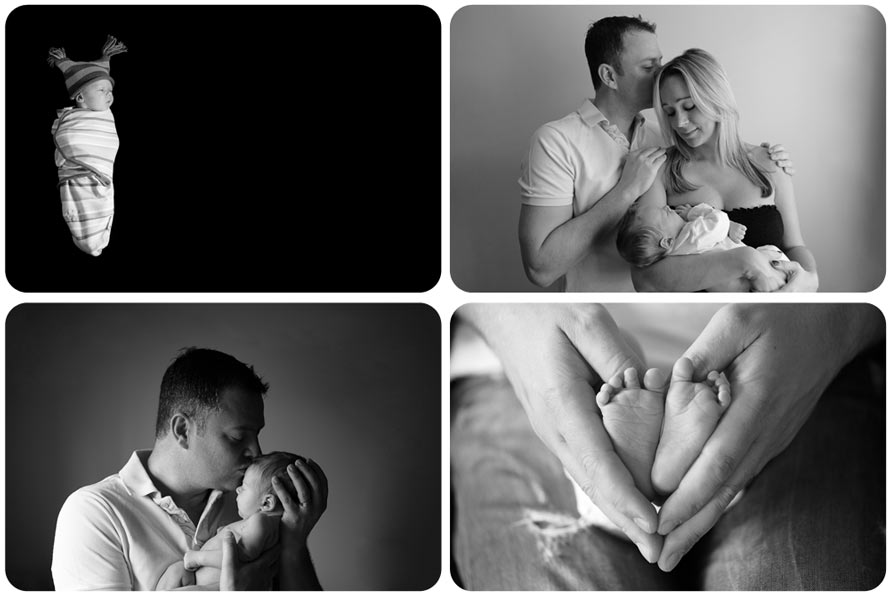 Professional newborn baby photography B&W montage