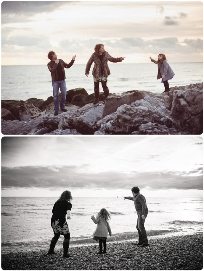 A family enjoying some time at the beach in winter