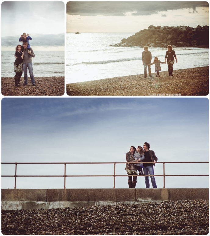 A family spends time together at the beach
