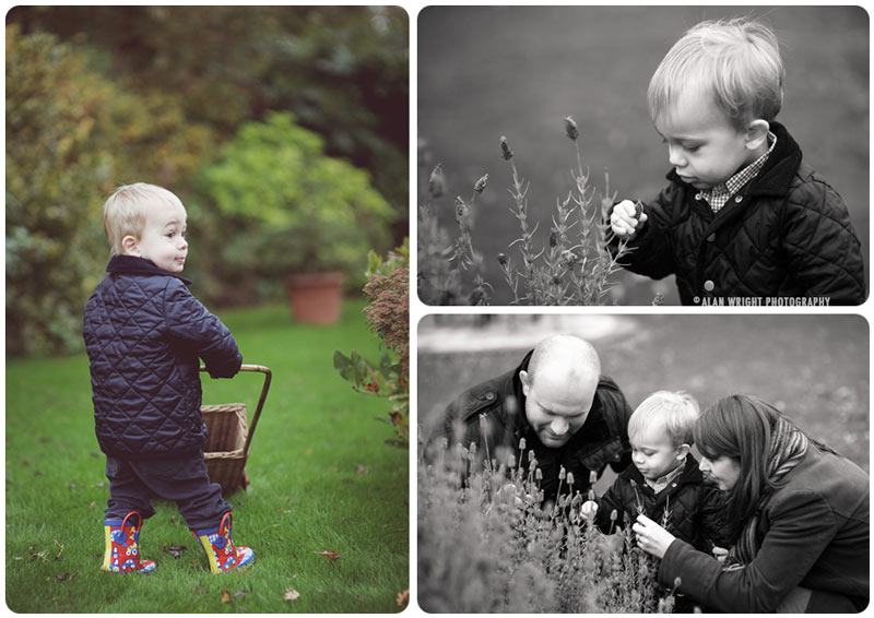 A family enjoying time in the autumnal garden