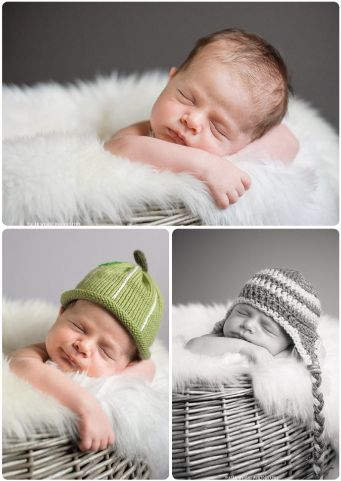 Smiling newborn baby wearing a hat