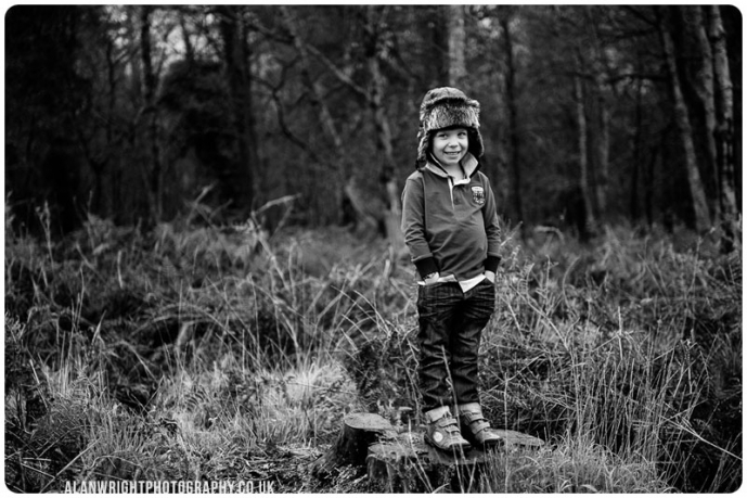 A portrait of the boy having an adventure outdoors