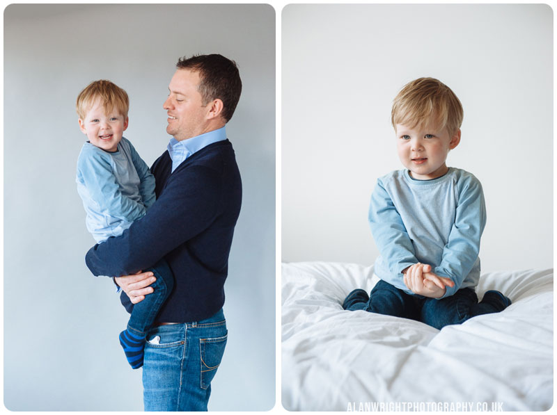 daddy makes his young son laugh