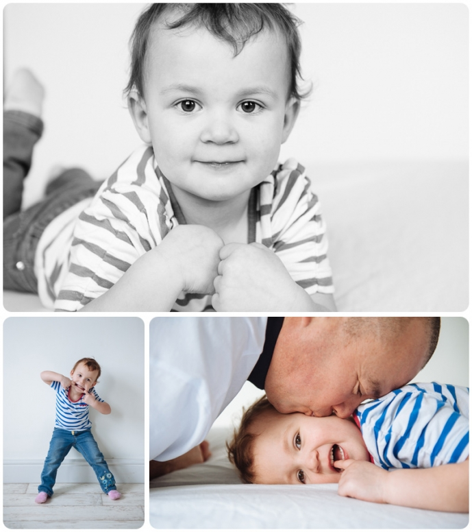 A playful child poses for professional photos