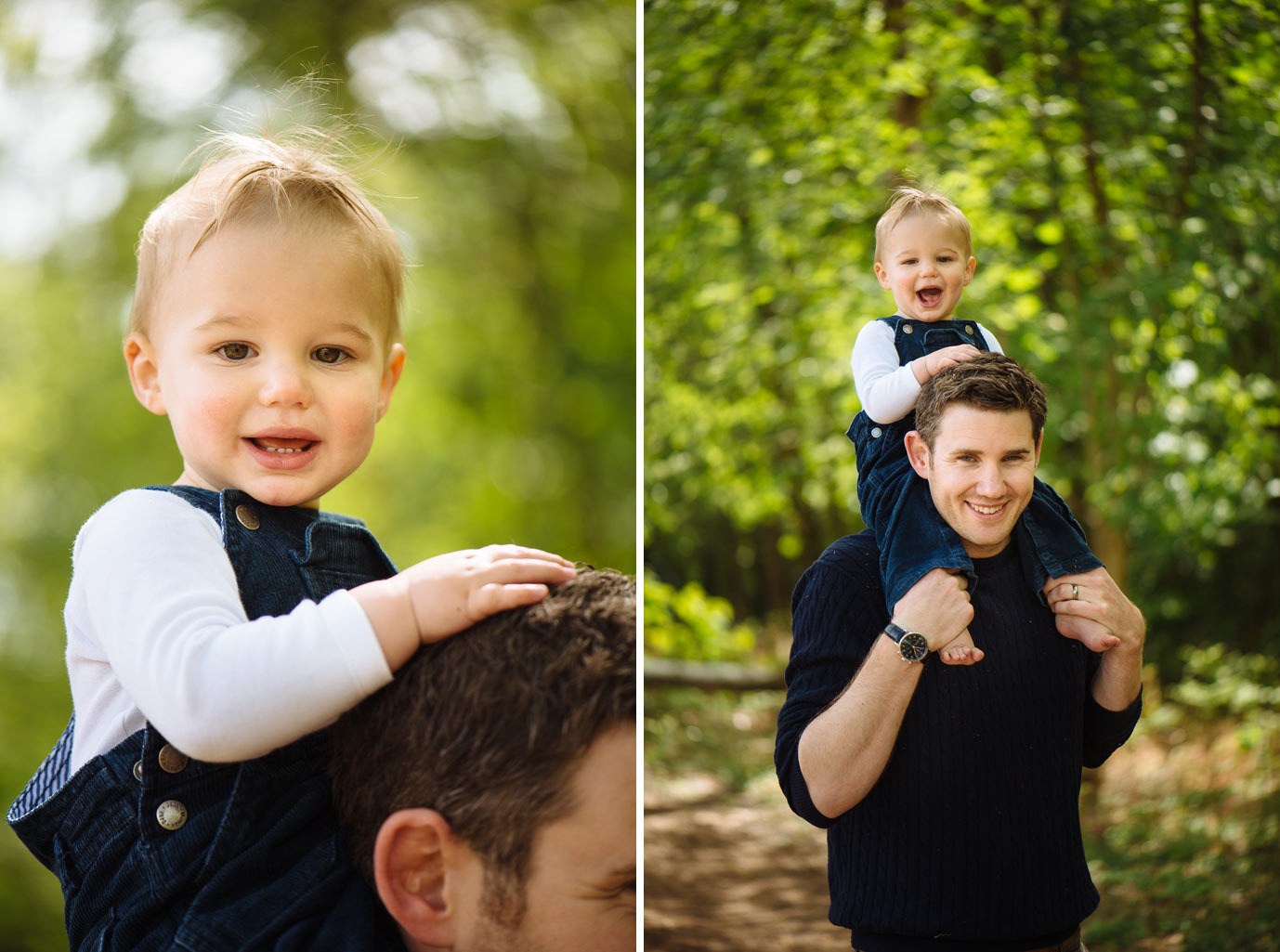 son takes a piggy back ride on dads shoulders