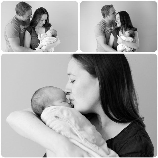 A Family poses for professional portraits with their newborn baby