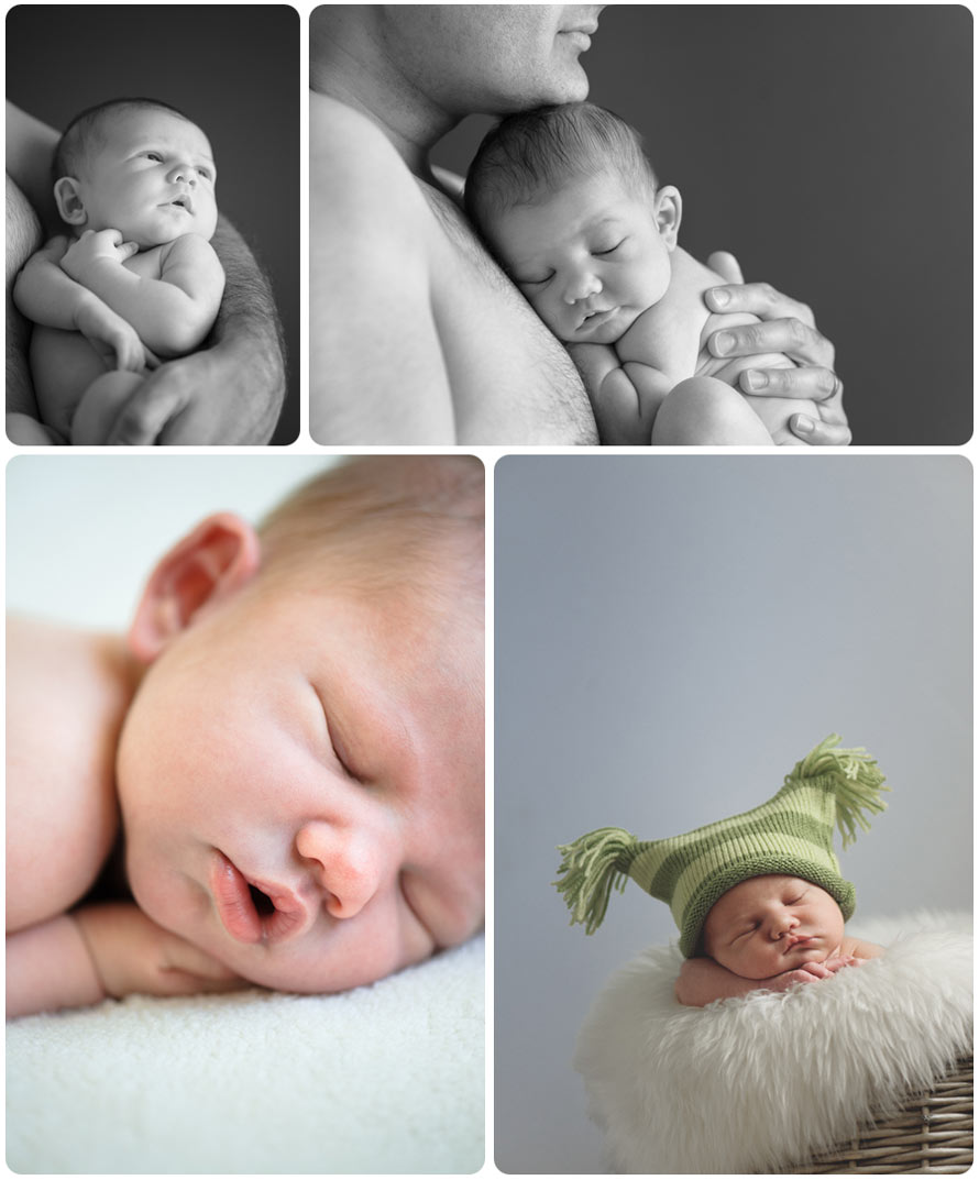 Colour and B&W professional photographs of a newborn baby boy