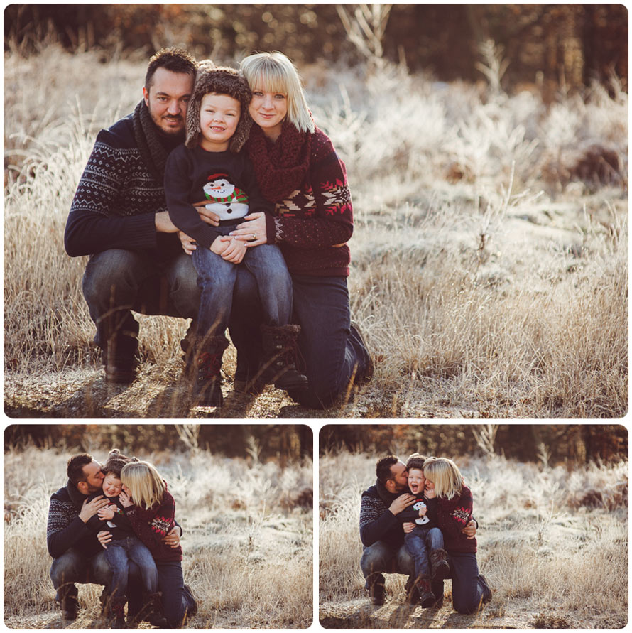A family poses outdoors for their photography session