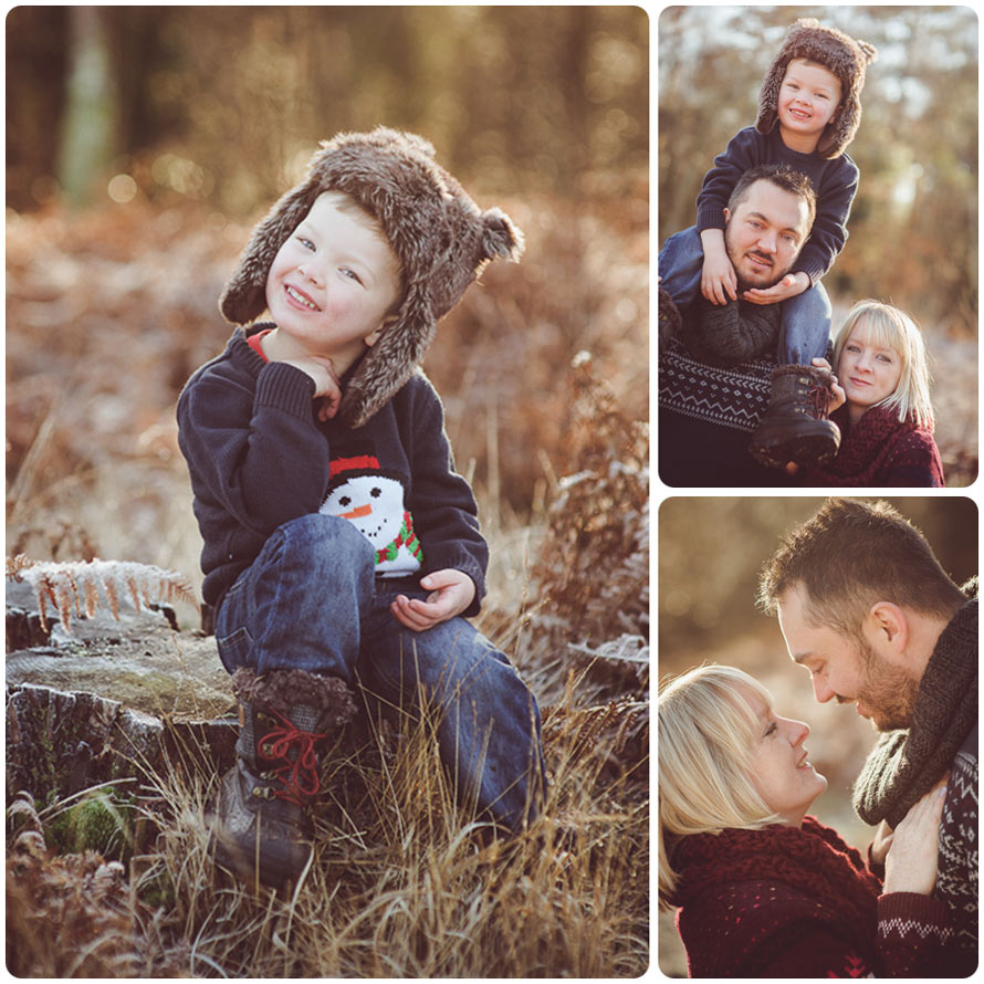 Three photographs from the W. Family photography session