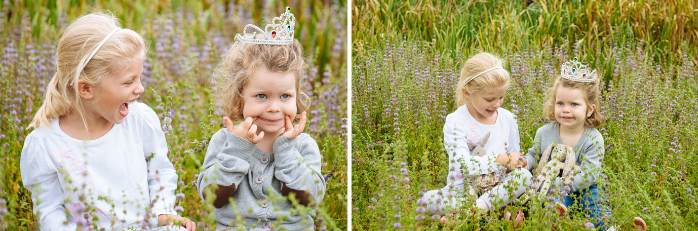 tiara wearing toddler sits for photo with older cousin
