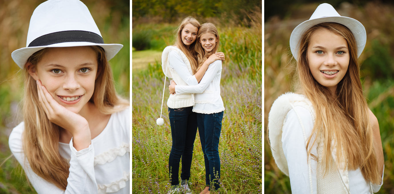 Teen sisters pose for family photo